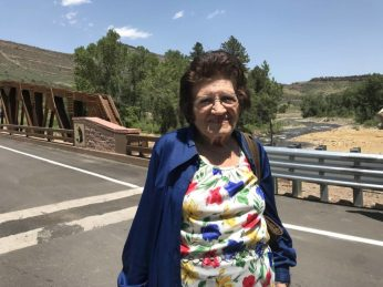 "91-year old LaVern Johnson has lived in Lyons her entire life. ""I used to come down and swim in the river and wade and we'd have a picnic there by the park. I'd just hate to be without it."" Photo by Maeve Conran"