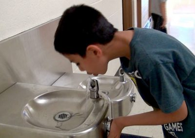 Aram has a favorite water fountain where the water is coldest at Lakewood's Stober Elementary School.