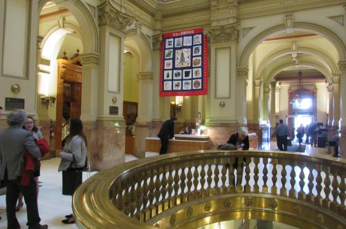Lawmakers and visitors fill the rotunda at the State Capitol on Tuesday March 12. Credit: Jerd Smith