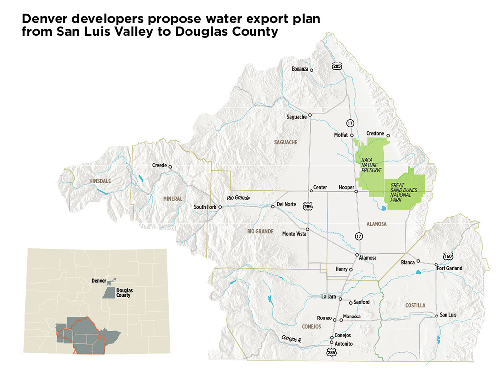 The proposal to bring water from the San Luis Valley to the metro area would require a pipeline of more than 200 miles. Credit: Chas Chamberlin