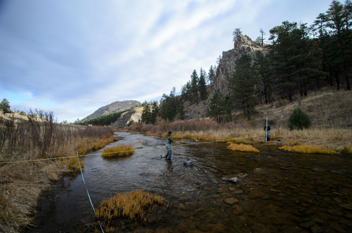 Colorado Parks and Wildlife workers conduct an assessment on the North Fork of the Poudre River. Credit: Colorado Parks and Wildlife