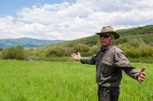 Steve Williams, a local rancher in Steamboat Springs, is showing a section of the Yampa River he works to protect and conserve that flows through his land. June 29, 2019. Credit: Callie Rhoades, CU News Corps, The Water Desk