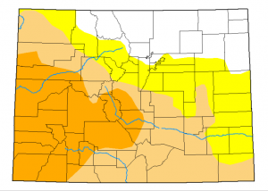 Drought has returned to roughly 75 percent of the state, Orange represents severe drought, tan is moderate drought and yellow is considered abnormally dry. Nov. 7, 2019