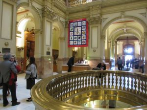 Visitors and lawmakers in Colorado State Capitol. Spring of 2019. Credit: Jerd Smith