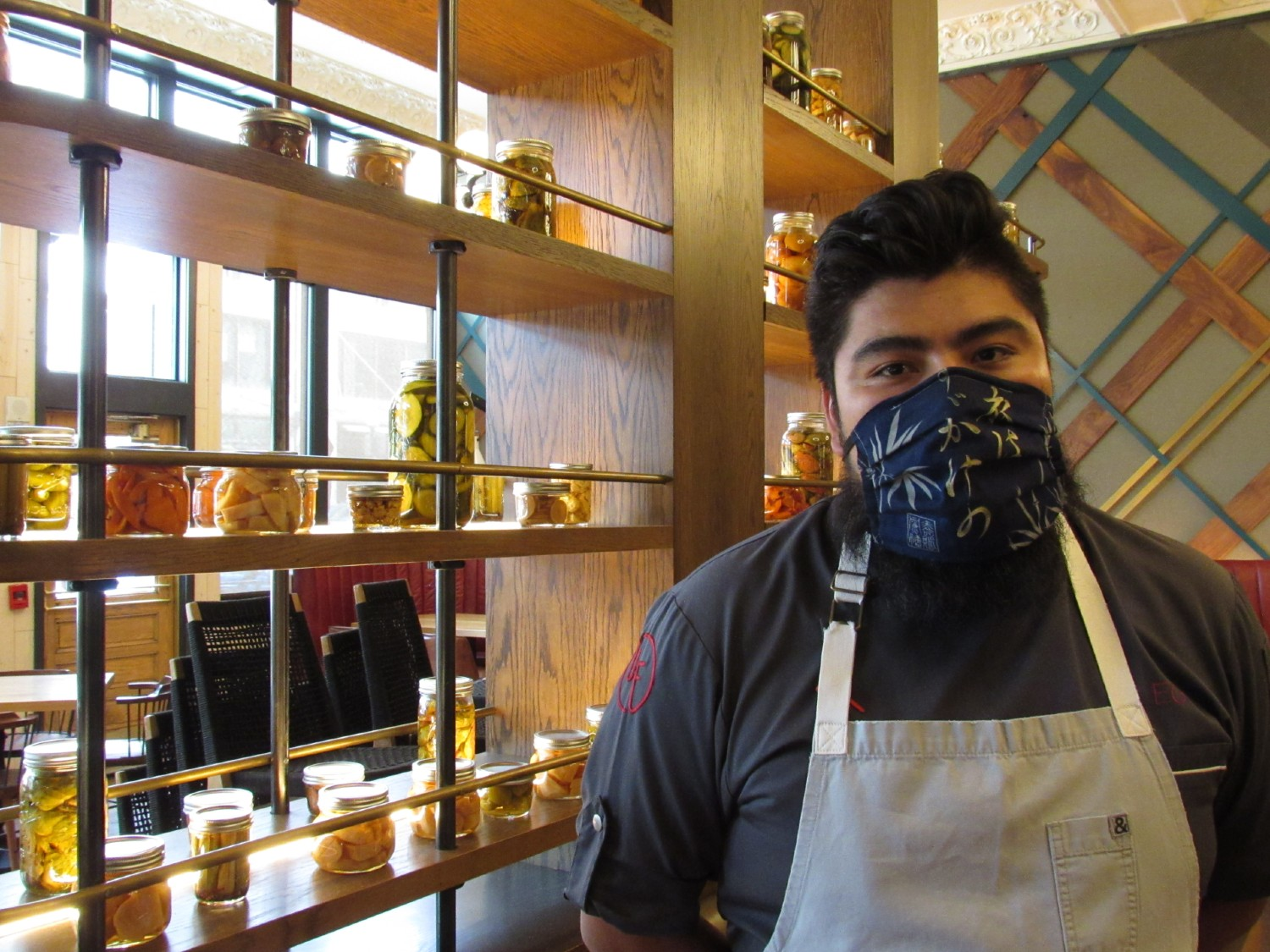 Erick Gamas, executive chef at the Urban Farmer, is training staff to wear masks, gloves and do temperature checks as they prepare to reopen. June 1, 2020. Credit: Jerd Smith