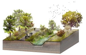 Rendering of the High Line Canal vision in the Denver metro area in Colorado