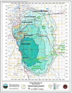 A map of deep aquifers in the Denver Groundwater Basin. Source: Colorado Division of Water Resources.A map of deep aquifers in the Denver Groundwater Basin. Source: Colorado Division of Water Resources.